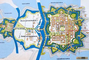 Mapa de Theresienstadt, com a Pequena Fortaleza à esquerda